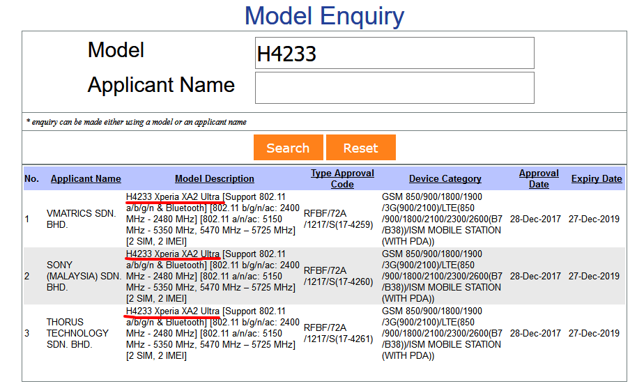 query h4233 - sony xperia xa2 ultra