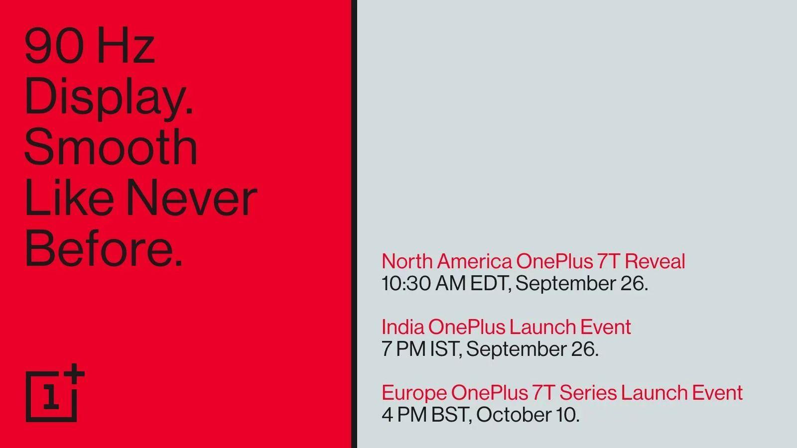 OnePlus lanza un adelanto, confirma que la serie OnePlus 7T llegará el 26 de septiembre